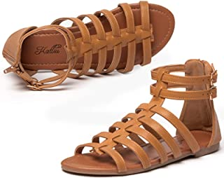 Women's Gladiator Sandal Flat Strap Sandals Two Ankle Buckle