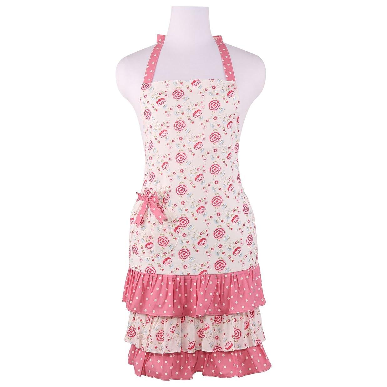 に頼るむちゃくちゃ放射能Neoviva [Doris] 花柄フリルママ&キッズ親子エプロン 女性用ママ かわいい薔薇柄 ピンク 店員ウェイトレス 保育士