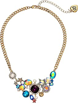 Mixed Stone Cluster Frontal Necklace