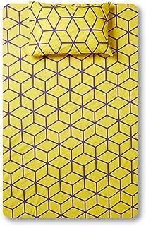 RISHAHOME Printed 180 Thread Count Cotton Bedsheet Set | Single Size (1 Bedsheet + 1 Pillow Case) Marigold Yellow | 2 Piec...