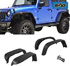 EAG Fit for 07-18 Jeep Wrangler JK Fender Flares Front and Rear with LED Turn Signal Lights Steel