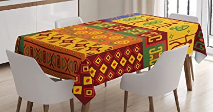 Ambesonne Prehistoric Tablecloth, Vintage Aztec South American Forms Design with Exotic Striped Details, Rectangular Table...