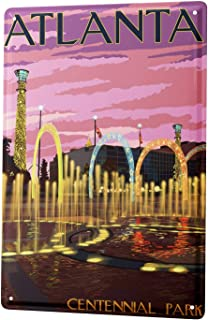 vsdvgsse Tin Sign City Atlanta Poster for Home Signs Metal Art Decor Wall Plate 8X12 - Made in The USA