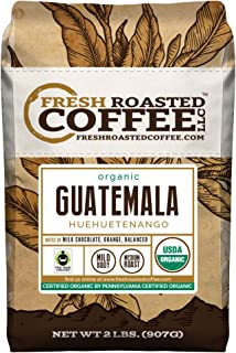 Fresh Roasted Coffee LLC, Organic Guatemalan Huehuetenango Coffee, Medium Roast, Whole Bean, 2 Pound Bag