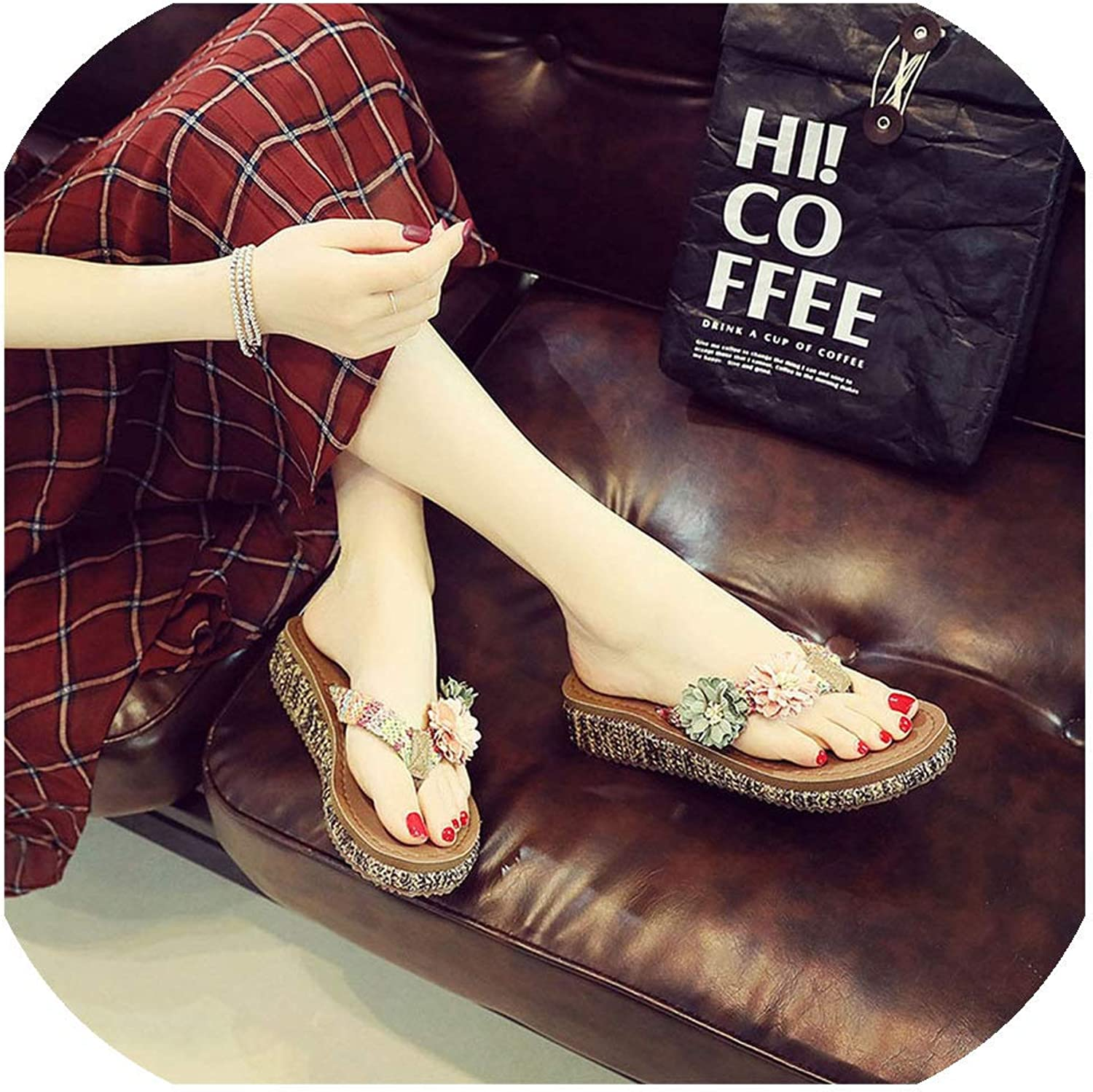 Women Beach Flip Flops Slippers Platform shoes Woman Slip On Flax Sandals Ethnic Female,