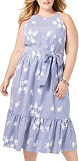 Jessica Howard Size Womens Embroidered Gingham Halter Neck Dress, Navy/Ivory, 18 Plus