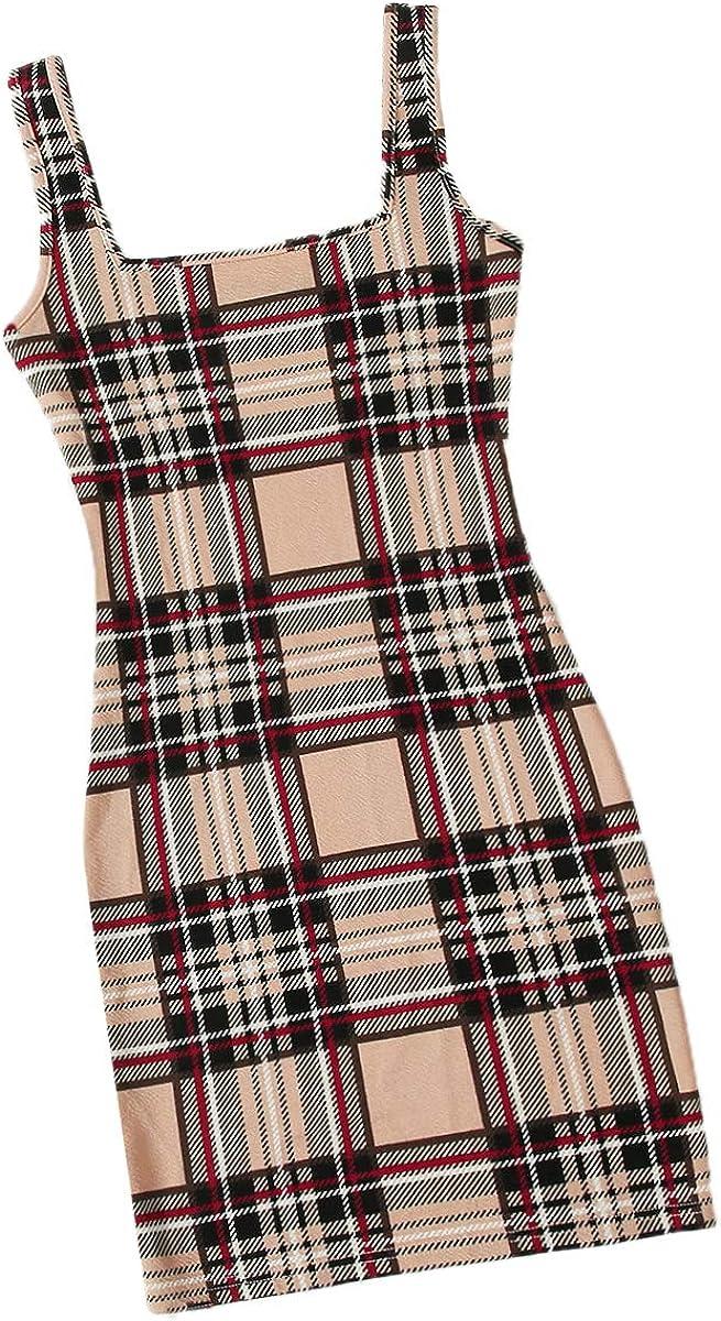 Romwe Women's Square Neck Sleeveless Print Plaid Pencil Bodycon Mini Cami Dress