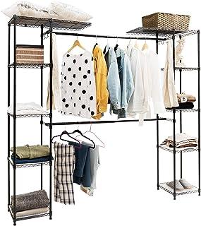 DREAMADE Amazon : Porte-Vêtements Extensible en Métal avec 2 Penderies et Pieds Réglales, Armoire de Rangement pour vêteme...