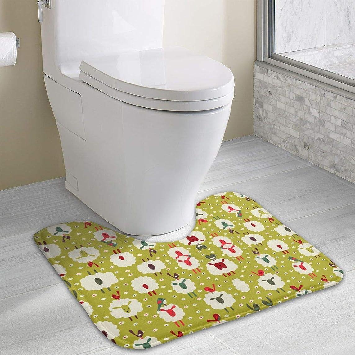 Beauregar Sheep and Birds Wallpaper Contour Bath Rugs,U-Shaped Bath Mats,Soft Polyester Bathroom Carpet,Nonslip Toilet Floor Mat 19.2