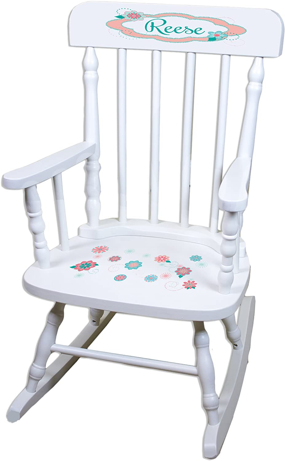 Personalized free shipping Coralscope White Finally popular brand Chair Rocking Childrens