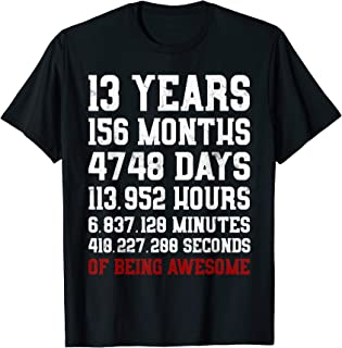 13 Years old of Being Awesome T-Shirt 13th Birthday Tee Gift