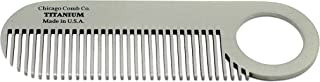 Chicago Comb Model 2 Titanium, Made in USA, Ultimate Daily Use Beard & Mustache comb, Pure American Titanium, Anti-Static, Patented Design, Ultra-Smooth, Strong, Light, 4 in. (10 cm)