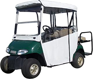 """Golf Cart Cover – 3-Sided """"Over-The-Top"""" Cart Cover for Club Car (DS2000+) –Drivable Golf Cart Cover Enclosure – Marine Grade Vinyl - Black Rain Cover for Golfers– Fits Golf Bags, Rear Seat, Utility"""