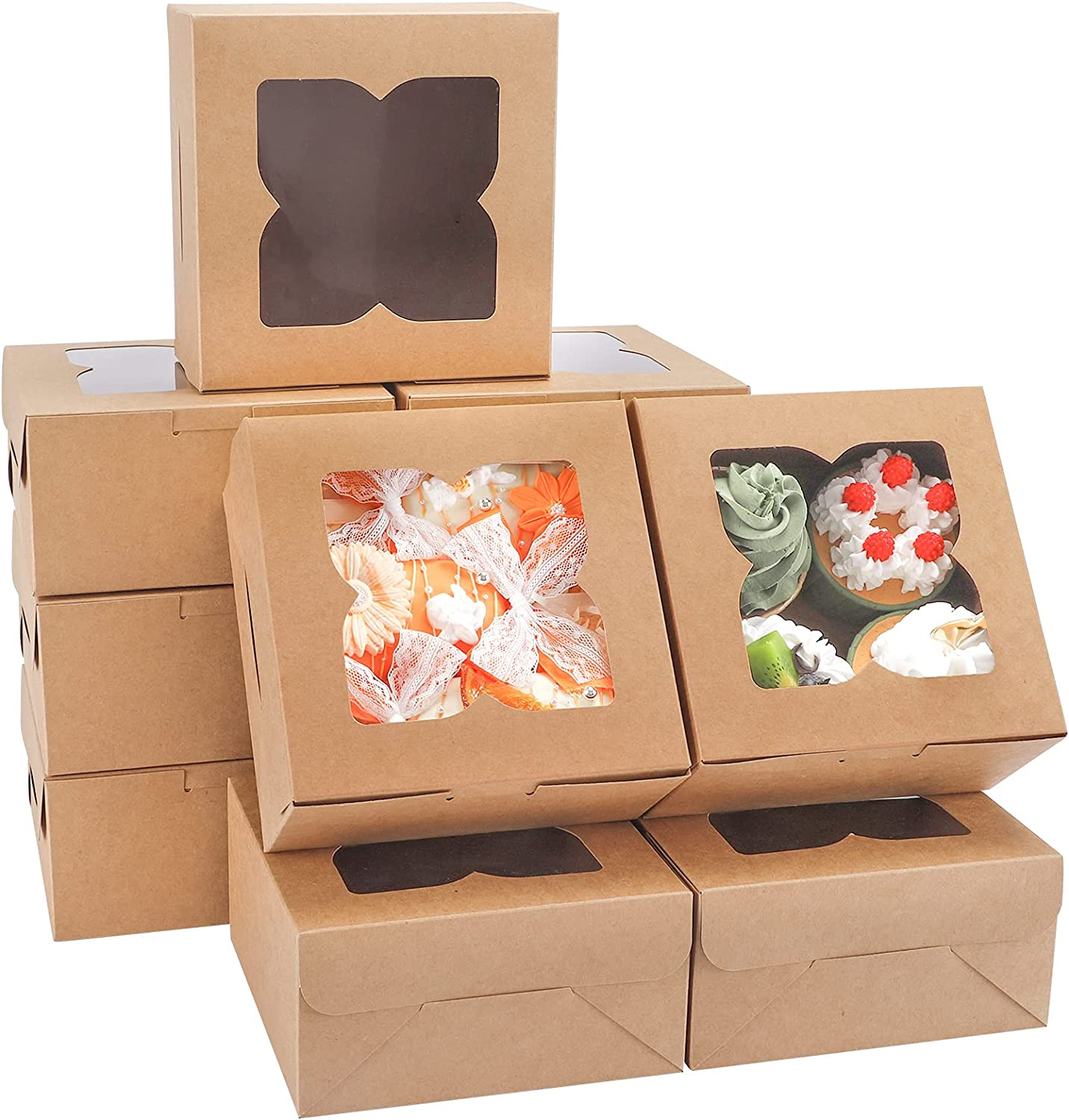 TOMNK 36pcs Brown Bakery Boxes 6 x 6 x 3in Cake Boxes Cookie Boxes with Windows for Pies, Cookies, Smash Hearts, Strawberries and Muffins