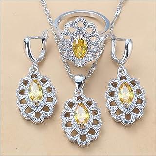 طقم مجوهرات زركون مكعب للنساء هدية مجوهرات للنساء يانجين (اللون: أصفر 3 قطع، الحجم: 7)