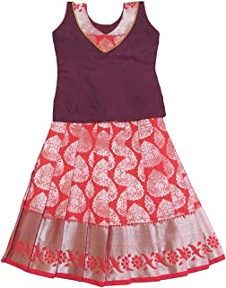 Pattu Pavadai Baby Girls & Kids Pure Silk Silver Zari Skirt and Blouse (Brown and Orange)