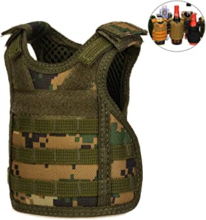 CyberDyer Beer Vests Beverage Cooler Tactical Mini Molle Adjustable Beverage Holder for 12oz or 16oz Cans or Bottles