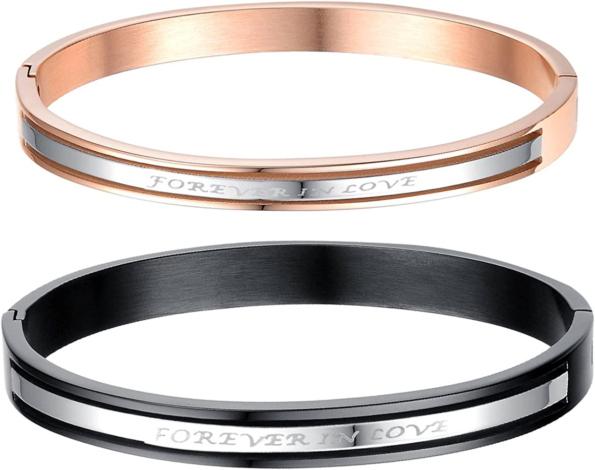 2pcs Couples Stainless Steel Forever In Love Bangle Cuff Bracelet for Valentines Promise Gifts