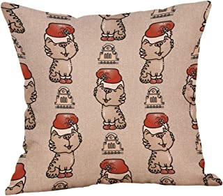Unionm 64# Pillow Covers Christmas Decor Throw Pillow Case Flax Socks Moose Balloon Merry Christmas Theme Square 45 x 45 cm 18 x 18 inch Cushion Cover for Home Sofa Car 1 Pack - 1