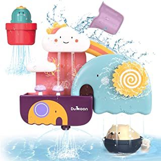 GILOBABY Bath Toys for Toddlers, Baby Bathtub Wall Toy Elephant Waterfall Fill Spin and Flow with Bear and Cactus ,  Kids ...