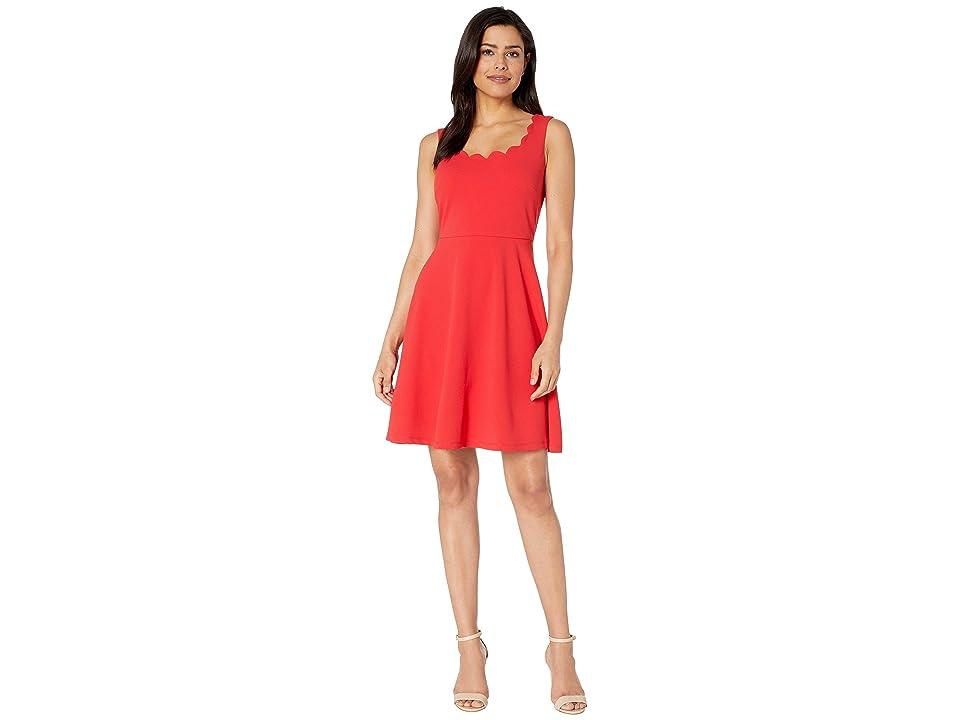 Nine West Drapey Crepe Sleeveless Fit Flare Dress w/ Scallop Neckline (Apple) Women