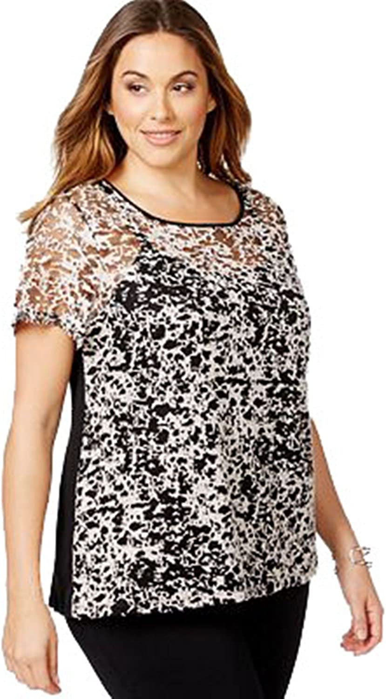INC International Concepts Women's Plus Size Burnout Tee, Black White, 3X