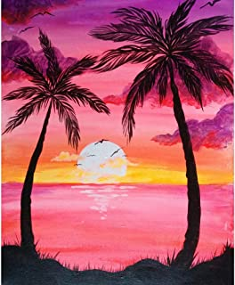 DIY 5D Diamond Painting by Number Kit,Crystal Rhinestone Diamond Embroidery Paintings Cross Stitch for Home Wall Decor Beach Scenery,Pink Sunset Coconut Tree 11.8 X15.7 inch ¡