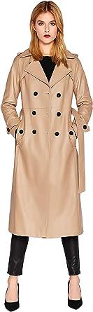 SmartUniverseWear - Cappotto da donna in pelle di agnello, doppiopetto, lungo cammello