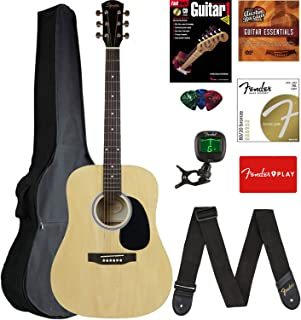 Fender Squier Dreadnought Acoustic Guitar - Natural Bundle with Gig Bag, Tuner, Strap, Strings, Picks, and Austin Bazaar Instructional DVD