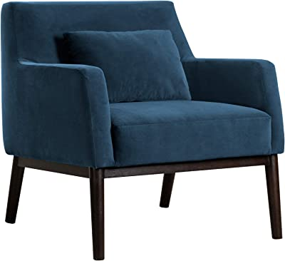 "Armen Living Oliver Blue Velvet Modern Accent Chair with Wood Legs, 92.4"" W"