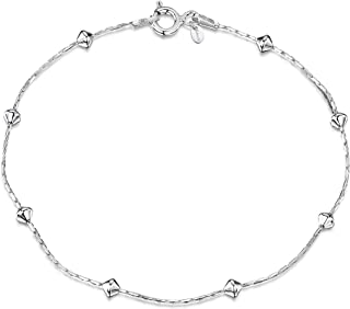 Amberta® Gioielli - Bracciale - Catenina Argento Sterling 925 - Modello Serpente con Perline - Larghezza 1/3.2 (mm) - Lung...