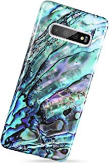 VIVIBIN Samsung Galaxy S10 Plus Case Green Oyster Shell Design,Slim-Fit Scratch Resistant Shock Proof Flexible Glossy Soft Silicone Phone Case Cover for Galaxy S10 Plus 6.4 inch 2019