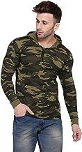 Rezalia Men's Military Camouflage Hood Full Sleeve Cotton T-Shirt