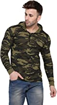 Rezalia Men's Military Camouflage Hood Full Sleeve Cotton T-Shirt