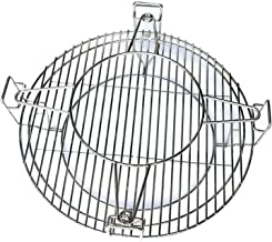 """Hongso Stainless Steel SUS304 Flexible Cooking Rack for Char-Griller Large Big Green Egg, Kamado Joe Classic and Other 18.5"""" Ceramic Grills, Including 2 Half Moon Grates and Accessory Rack, SCS180"""