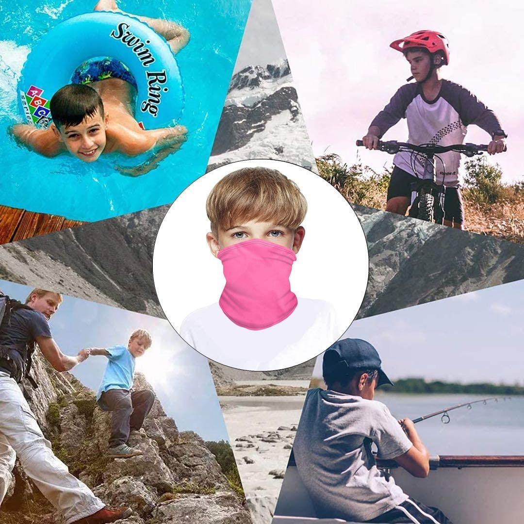 Kids Adjustable Drawstring Style Neck Gaiter Face Cover Scarf Boys Bandana Balaclava Dust & UV Sun protection for Outdoors