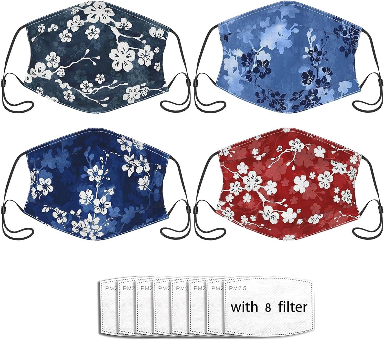 4pcs Japanese Face Mask,Japanese Kimono Style Floral Face Mask Unisex Balaclava, Washable Reusable Bandana Fashion Scarf