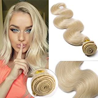 SEGO 60 Virgin Hair Bundles 7A Sew in Blonde Bundle 100% Unprocessed Brazilian Human Hair Weft Weave Extensions Thick Body Wave Wavy One Bundle for Women 18 Inch Platinum Blonde