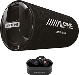 """$130 » ALPINE SWT-S10 1200w 10"""" Car Audio Subwoofer in Bass Tube+Wireless EarBuds"""