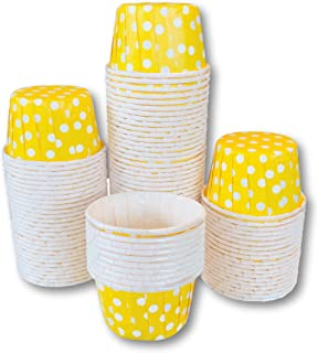 Bulk MINI Candy Nut Paper Cups - Mini Baking Liners - Yellow White Polka Dot - 100 Pack
