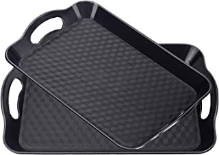 Plastic Tray with Handles, 2 Pack Multi-Purpose Rectangular Non Slip Restaurant Serving Trays Set for Parties, Coffee Table, Kitchen(Black)