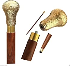 SouvNear 37.4 Sticks in Natural Wood with a Brass Handle-Elegant Walking Cane