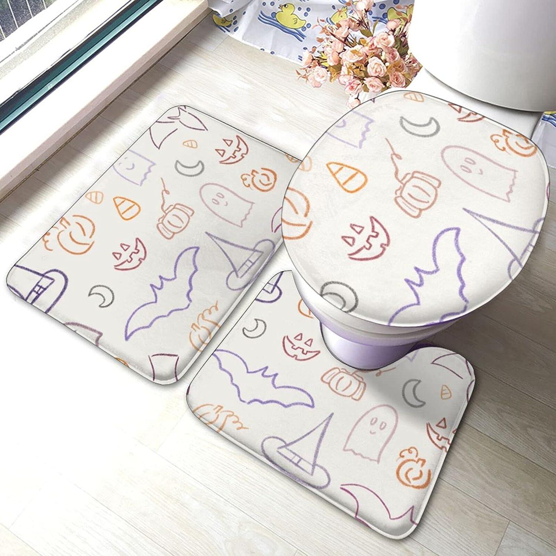 Halloween Bathroom Floor Mat Antiskid Pad Piece Set Max 55% OFF mart Lid Toilet 3