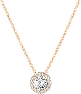 PAVOI 14K Gold Plated Post Faux Diamond Round Solitaire Pendant Halo Necklace   Gold Necklace for Women   Slider Adjustable