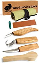 BeaverCraft S13B1 Wood Carving Tools Set for Spoon Carving 3 Knives in Tools Roll Leather Strop and Polishing Compound Hook Sloyd Detail Knife (Spoon Blank Carving Knives)