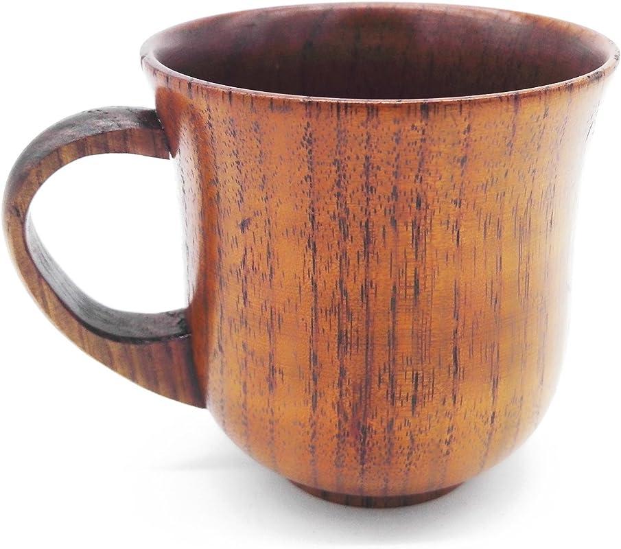 CTIGERS Handmade Wooden Coffee Mugs Elegant Camphorwood Cup Best Gift For Coffee Fanatic