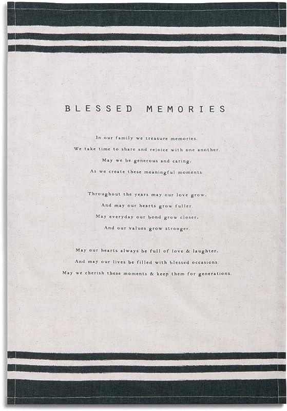 Blessed Memories Family Black Stripe 28 X 19 Cotton Blend Dish Tea Towel