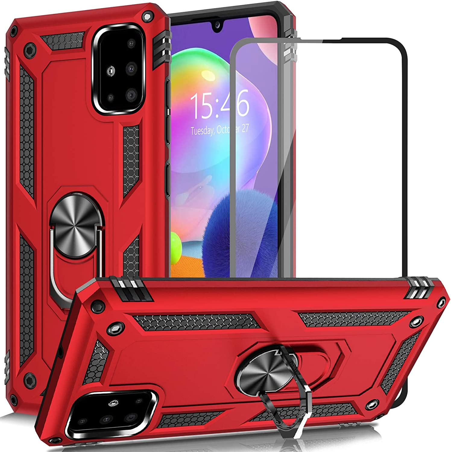 AUPAI for Galaxy A31 4G Case with Glass Screen Protector, Heavy Duty 15ft Drop Tested Shockproof Cover with Magnetic Ring Kickstand,Protective Phone Case for Samsung Galaxy A31 4G Red