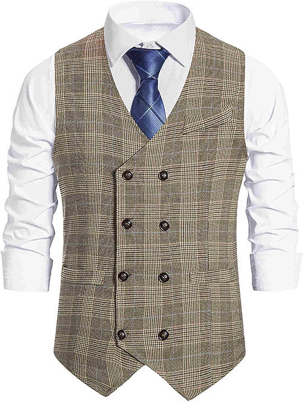 Men's Dress Vest Slim Fit Suit Vest Casual Sleeveless Formal Business Jacket Tailored Fit Cotton Check Suit Vests