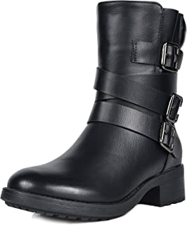 Women's Strappy Faux Fur Mid Calf Riding Combat Boots